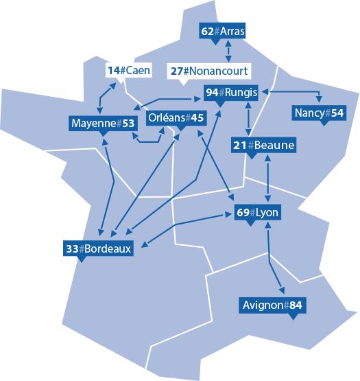 carte de France des réseaux